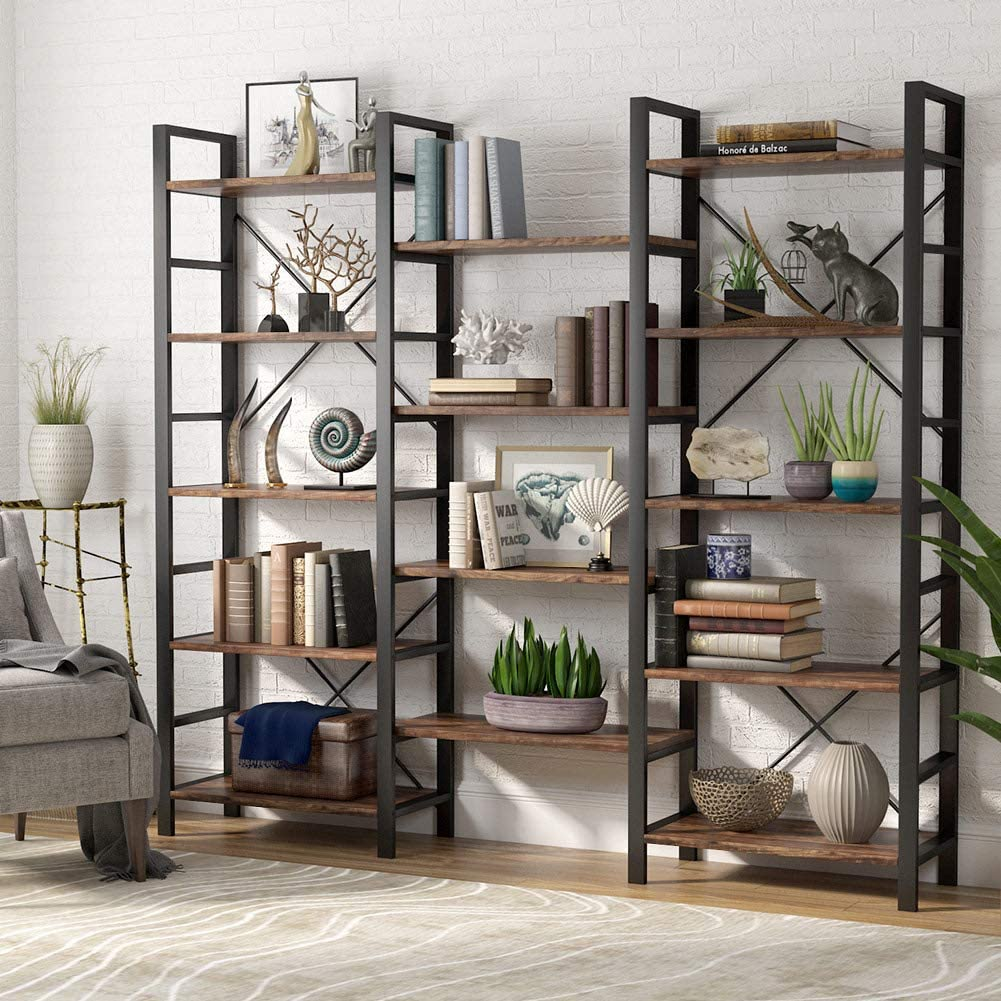 vintage triple wide 5-shelf bookcases wood and metal home office open bookshelf